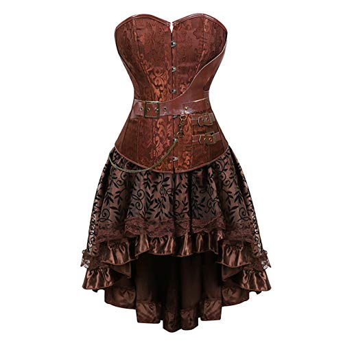 XMDNYE Plus größe 6XL Steampunk Korsetts Kleid Gothic Overbust Korsett Kleid Frauen Hohe Taille Röcke Sexy Spitze Bustier Mieder (Steampunk-kleid Größe Plus)