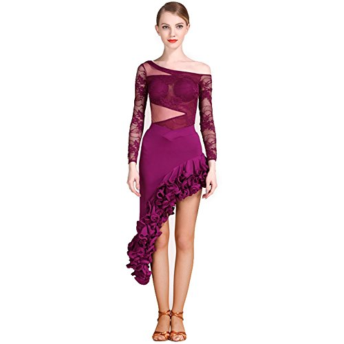 Wangmei Latin Dance Outfits Damen Training/Leistung Tanz Cosetume Spitze/Tüll Drapiert Long Sleeve Top/Latintanz Rock, Purple, M