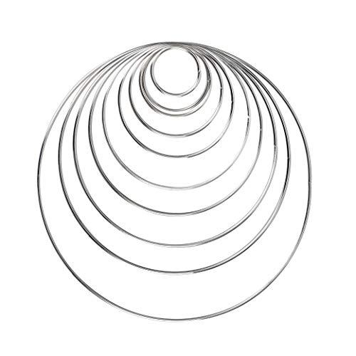 HONGXIN-SHOP Metall Ringe Hoops 10 Stück Silber Metallringe für Traumfänger und Handwerk 10 Größen