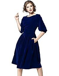 130990e07cae LAI MENG Damen 3 4 Ärmeln Marineblaues Rot Tunikakleid aus Samt mit  GürtelKleid A