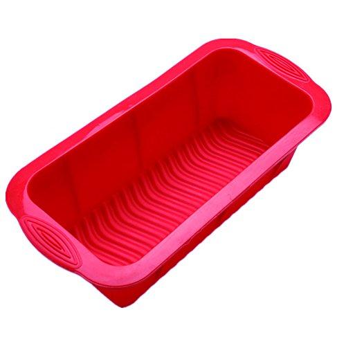 Kentop Silikon Brotbackform Königskuchenform Kastenform Brot-Backform Kuchenform Rechteckige Toast Box (Rot)