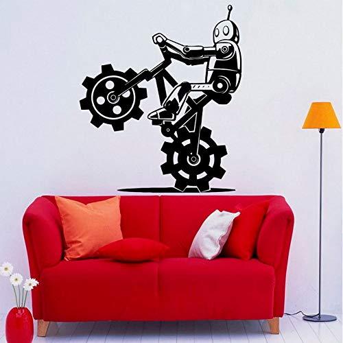 guijiumai Robot Bicicletta Adesivo Murale Adesivo in Vinile Sport Bici Interni per la casa Ragazzo Impermeabile Decorazioni per Camera da Letto Murales Fai da Te Nero 85x99 cm