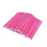 UPKOCH 100PCS Paper Lollipop Sticks Colored Chocolate Cake Pop Making Sticks for DIY Craft Project Birthday Party Favor (Yellow)