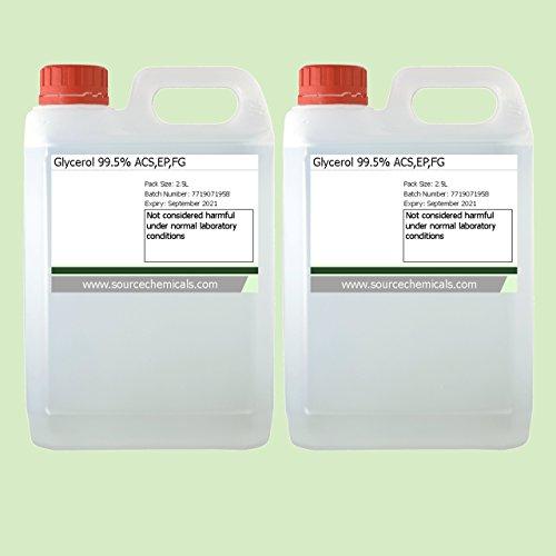 Glycerol (Glycerine) Vegetable Kosher Food / Pharma Grade 2 x 2.5 Litre (5L) Including Delivery