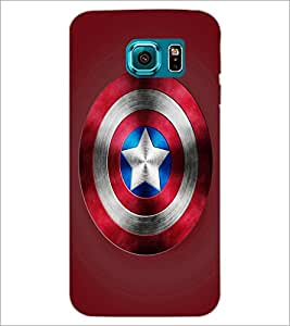 PrintDhaba Captain America Shield D-3328 Back Case Cover for SAMSUNG GALAXY S6 (Multi-Coloured)