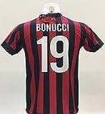 Maglia Calcio Milan Bonucci 19 Replica Autorizzata 2017-2018 bambino (taglie 2 4 6 8 10 12) adulto (S M L XL) (M)