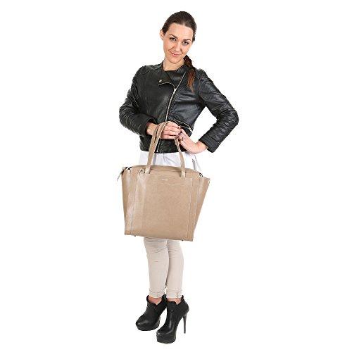 Trussardi Femme sac main avec de grandes poignées, pices en cuir de veau authentique 34x27x16 Cm Mod. 76B137SM Boue
