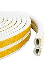 VOLO Soundproofing, Dust Proof Door/Window Self Adhesive Door Seal Strip 6 Meters(D Shape)_White