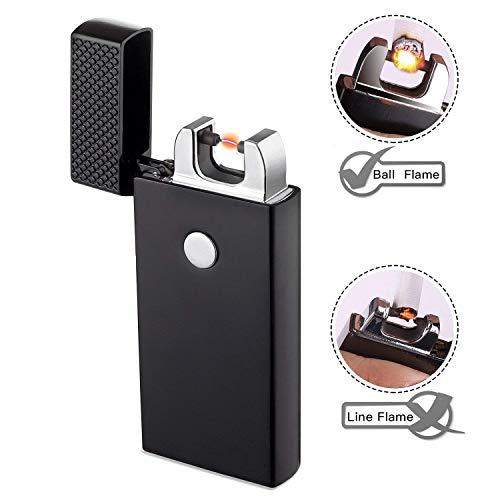 TECCPO USB Feuerzeug, Feuerzeug Elektrisch, 3.7V 220mAh elektrisches Feuerzeug, Feuerzeug, Winddicht und flammenlos, USB Wiederaufladbar, TDEL01P