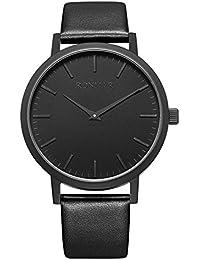 RONMAR Reloj de Pulsera de Cuarzo Negro con Correas de Cuero de Becerro para los de Negocios