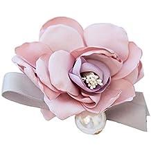 Ellaao Flor Artificial Ramillete Broche de Tela Perla Ojal Boda Flor Nupcial con Broche Pin Traje