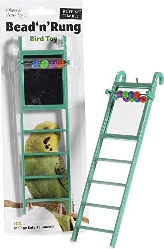 Sharples-n-Grant Caged Ice Small Bird Toy Bead n Rung with Mirror, Budgie Cockateil Canary Finch 1