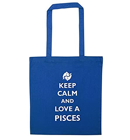 Keep calm and love a pisces tote bag