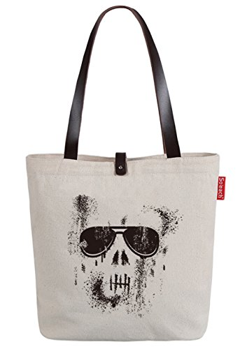 So'each Women's Skull Graffiti Canvas Shopper Top Handle Tote Shoulder Bag (Handle Tote Bag)