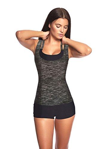3 tlg. Damen Push up Tankini Set mit Shirt Top Hotpants -Ideal für Strand Sport Yoga Fitness Bikini Badeanzug verschiedene Farben und Größen f5389 3tlg. Set Grau meliert / Schwarz U(1382F)