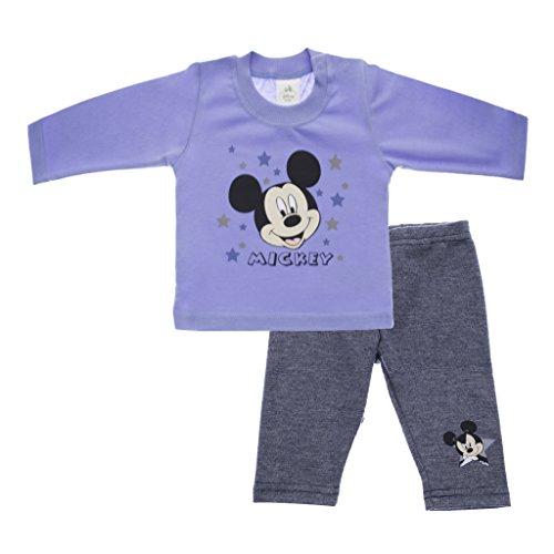 Jungen Baby-Set 2-teilig von Mickey Mouse in GRÖSSE 56, 62, 68, 74, 80, 86, blau oder weiss, Baby-Schlafanzug mit Druck-Knöpfen, Spiel-Anzug mit Langarm-Shirt und langer Hose Color Weiss, Size (Maus Outfit Minnie Für Kleinkinder)