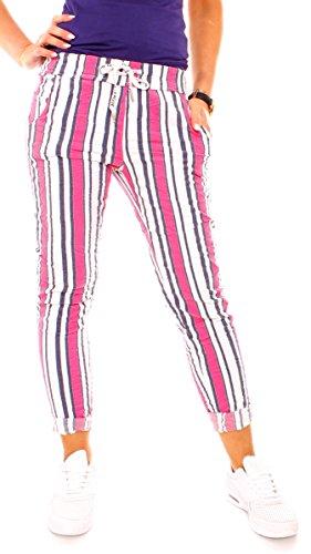 Damen Sommer Freizeit Lounge Stretch Stoff Hose Joggpants Jogger Stil Sommerhose Lang Stretch Eng Gestreift Streifen-Muster Pink XS - 34 (S)