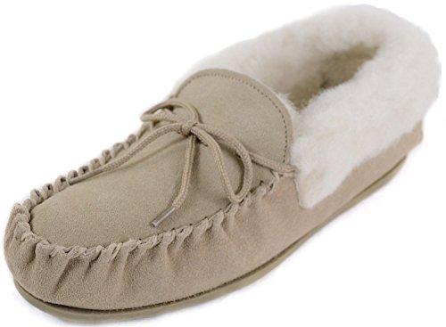 Damen-Lammfell-Mokassins/Slipper mit fester Sohle, braun - camel - Größe: 39