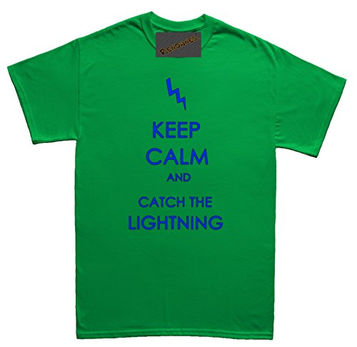 Renowned Keep calm and catch the lightning Herren T Shirt Grün