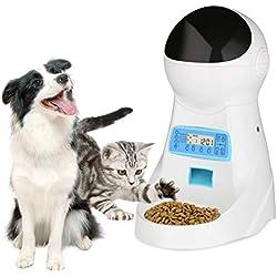 NICREW Distributeur Automatique de Nourriture 4 Repas/Jour Pet Feeder Automatique Distributeur de croquettes Gamelle pour Chiens et Chats (4L, Blanc)