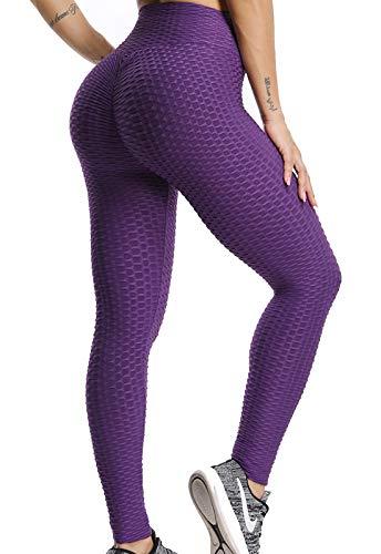 FITTOO Mallas Pantalones Deportivos Leggings Mujer Yoga de Alta Cintura Elásticos y Transpirables para Yoga Running Fitness con Gran Elásticos1090 Morado L