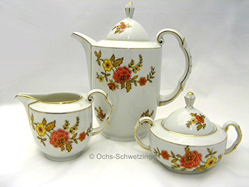 Ochs Schwetzingen Thomas Kaffeekanne, Zuckerdose; Milchgießer Blumendekor mit Goldrand 50er Jahre