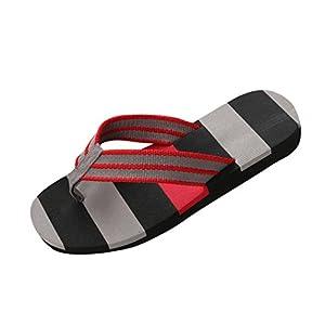 Pantofole – UOMOGO® Mens punta rotonda Striscia Pattern Beach scarpe infradito
