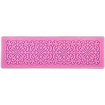 Molde de Silicona para Encaje Flor Fondant Pasta de Azúcar de Color Rosa de 6.89 Pulgadas Longitud