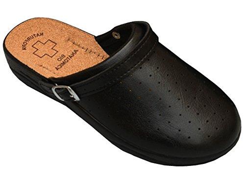 Bawal Damen Pantolette Sandalen Komfort Kork Hausschuhe Arbeit Modell 3512 (40, 4016-Schwarz) (Keil Schwarz Kork)