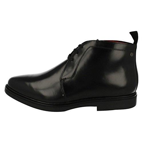 Base London Mens Screw Leather Shoes Noir