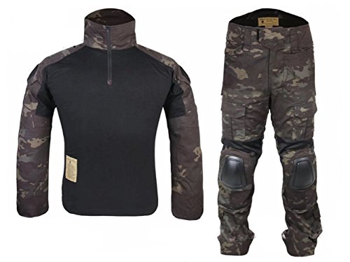 ATAIRSOFT Men's BDU Combat Gen2 Uniform Shirt & Pants Suit with Elbow Pads and Knee Pads for Army Military Airsoft Paintball War Game Shooting Multicam Black S Multicam Combat Uniform