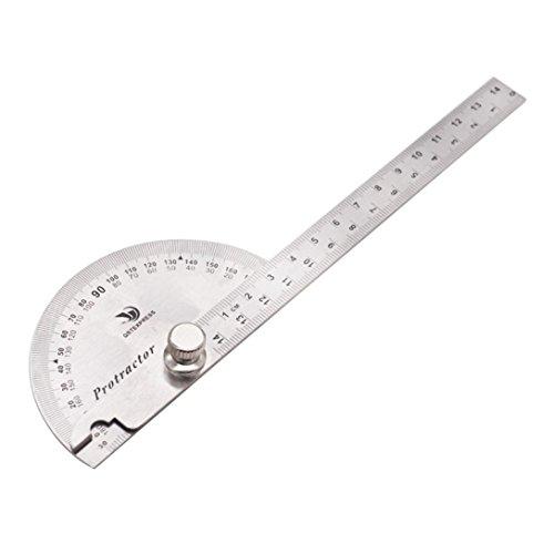 Hunpta Abnehmbare Edelstahl Rundkopf Rotary Winkelmesser Winkel Lineal Messung (B)