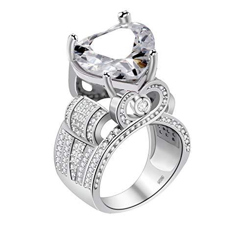 Uloveido Weißes Gold Überzog Mode Liebe Herz Kristall Versprechen Ring mit CZ Steinen für Frauen Mädchen Y429