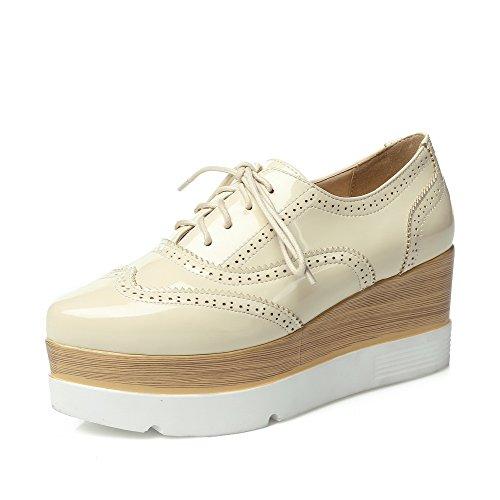 AllhqFashion Damen Spitz Zehe Niedriger Absatz Schnüren Rein Pumps Schuhe, Aprikosen Farbe, 40