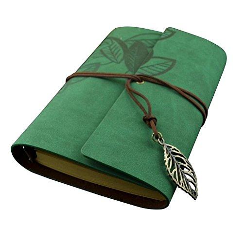 Foxnovo PU Cover gebunden leeren Notebook Editor Travel Journal Tagebuch Reisetagebuch - Größe L (grün)