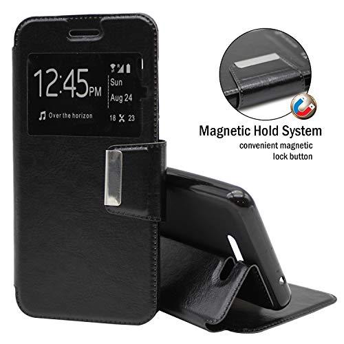 EUYBOX - Sony Xperia C4 Hülle Handyhülle Taschen Buch-Magnet-Sportansicht - Schwarz