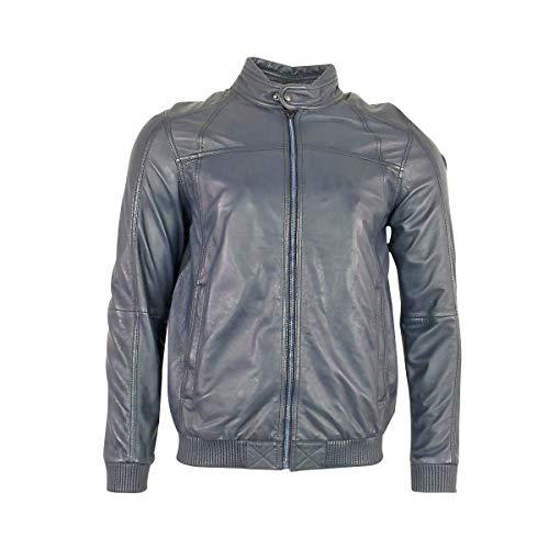 PME Legend Herren Lederjacke Schwarz Braun Blau Bikerjacke Jacke für Männer, Größe:M, Farbe:Blau
