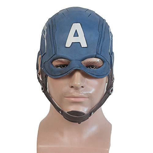Hope Avengers 4: Captain America Latex Maske Integralhelm Cosplay Erwachsene Männer Kinder Kostüm Halloween Maskerade Requisiten,Blue-OneSize (Captain America Kostüm Männer)
