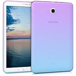 kwmobile Étui Samsung Galaxy Tab E 9.6 T560 / T561 - Étui pour tablette Samsung Galaxy Tab E 9.6 T560 / T561 - Housse en silicone violet-bleu-transparent
