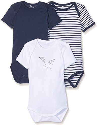 NAME IT Baby-Jungen Body Nmmbody 3P SS Dress Blues Noos, 3er Pack, Mehrfarbig (Dress Blues), 80
