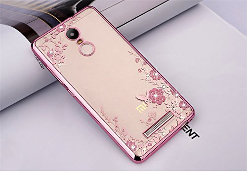 LOXXO Xiomi Redmi Note 3- Shockproof Silicone Soft TPU Transparent Auora Flower Case with Sparkle Swarovski Crystals for Xiomi Redmi Note 3 Back Cover (Rose Gold)