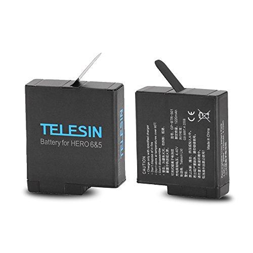 TELESIN Batterie de Remplacement 2 Pack pour GoPro Hero 6 Hero 5 Black, Piles rechargeables mises à jour pour toutes les Versions de Firmware (2 Batteries)