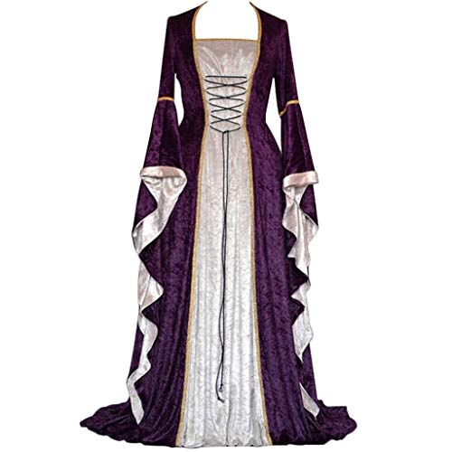 DRESS_start Damen Langarm Renaissance Mittelalter Kleid Viktorianischen Königin Kostüm Maxikleid