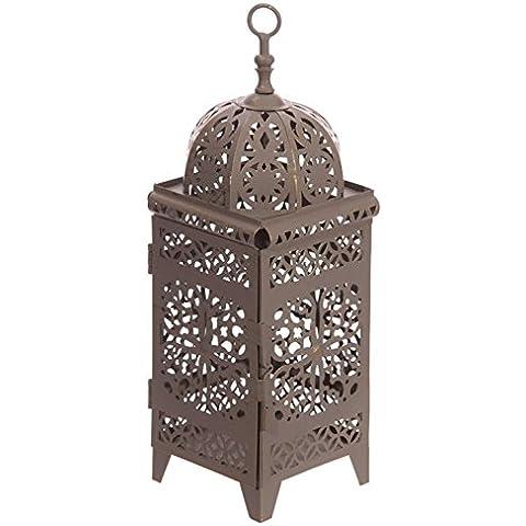 Lanterna Marocchina Intagliata in Metallo Grigio con Cupola