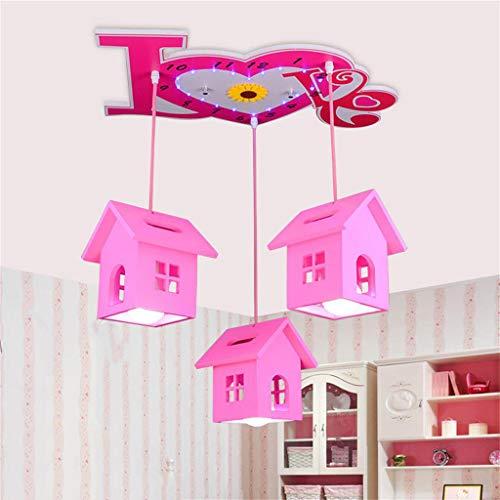 LED-Cartoon Kronleuchter Kreative romantische Cottage Girl Princess Zimmer der Beleuchtung Kinderzimmer ist Warm Kronleuchter Umweltschutz Materialien (Farbe: weiß, Größe: Fernbedienung)