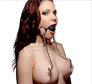 BONDAGERIE® Gag Ball Forata con pinze per capezzoli (BDSM Fetish Bondage)