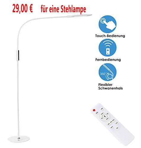 imiGY 9W Stehlampe Led Dimmbar, Led Stehlampe Dimmbar Fernbedienung, Flexible Schwanenhals Licht mit Touch, 5-Level-Helligkeit und Farbtemperatur Dimmbare Eye-Care-Technologie Licht, Weiß Caro Abendessen