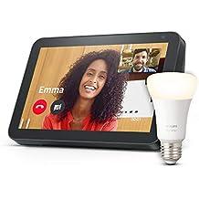 Echo Show 8, Tela de color antracita + Philips Hue Bombilla Inteligente (E27), compatible con Alexa