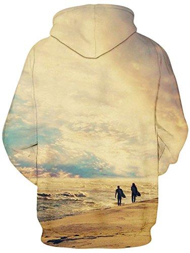 Bfustyle 3D Unisexe Sweatshirts Cordon Imprimé Poches Noël Sweater capuche Hoodie Plus Velours Vintage Seaside