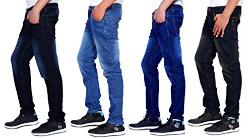 London Looks Men Slim Fit Multi Color Jeans (Combo Of 4)(Multicolor_36)